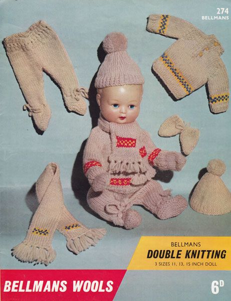 Baby Boll Dolls Knitting Pattern With Fair Isle 1960s Vintage