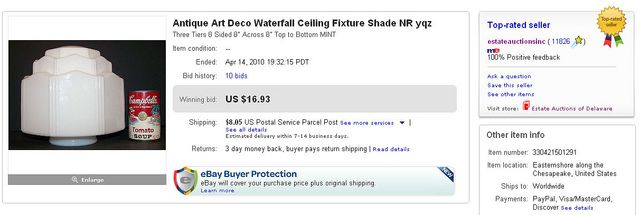"""Antique Art Deco Waterfall Ceiling Fixture Shade NR yqz Three Tiers 8 Sided 8"""" Across 8"""" Top to Bottom MINT Sold on eBay by Million Dollar Power Seller Norb Novocin User Name estateauctionsinc id. Norb Novocin is author of the book Getting Sold On eB So You Want To Be A Picker? Online Course -CLICK ON THE PICTURE ABOVE ^^^"""