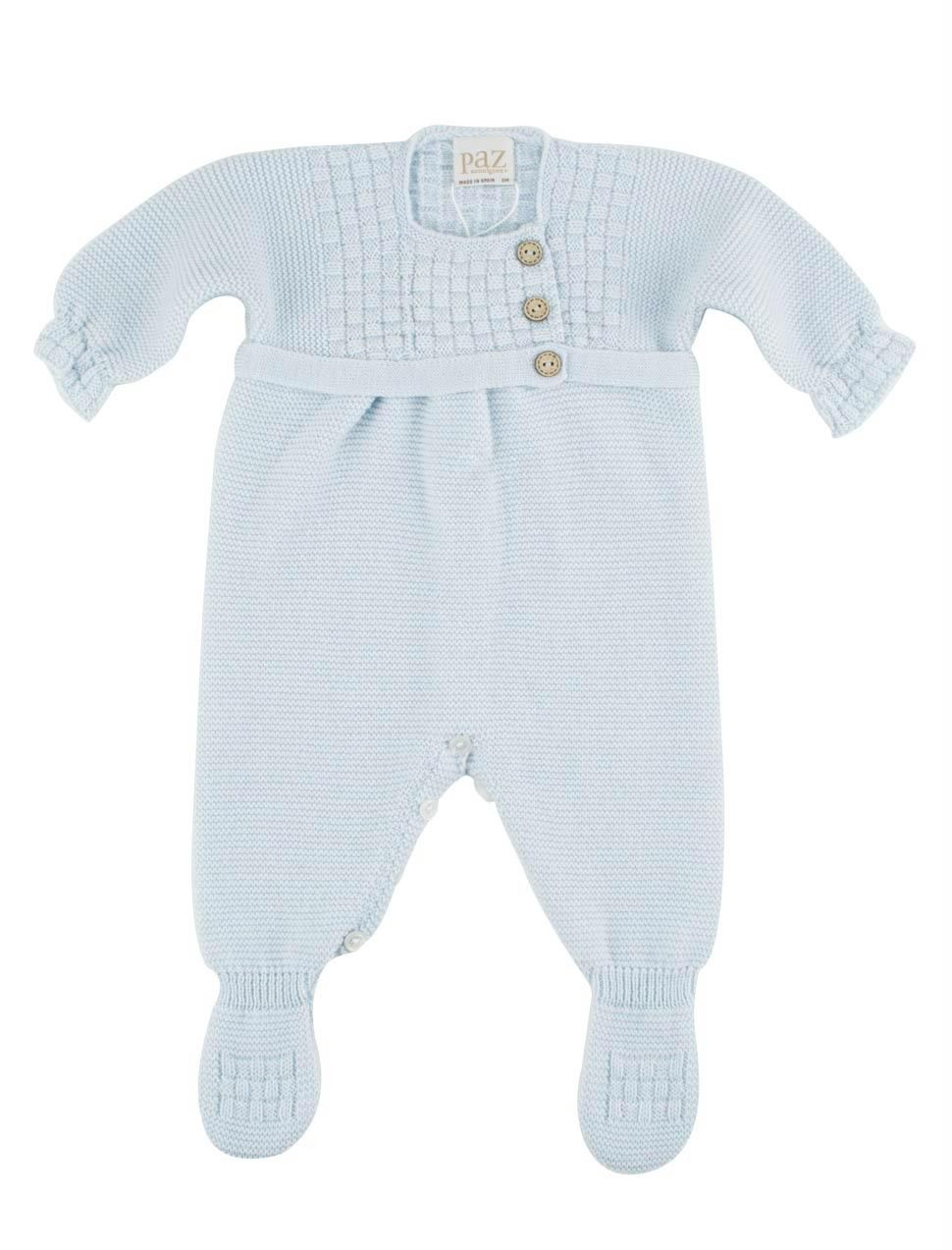 Woolen babygrow with braided top in fog blue from PAZ Rodríguez