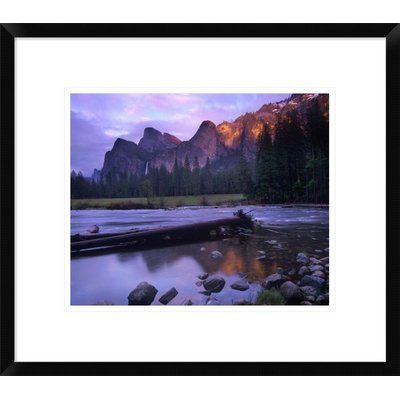 """Global Gallery Bridalveil Fall and the Merced River, Yosemite Valley, Yosemite Np, California by Tim Fitzharris Framed Photographic Print Size: 17""""..."""