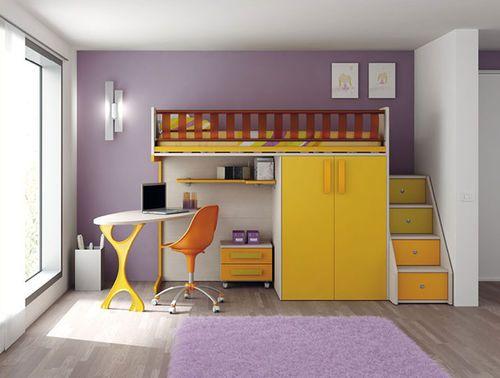 Lit mezzanine avec bureau de chambre à coucher pour