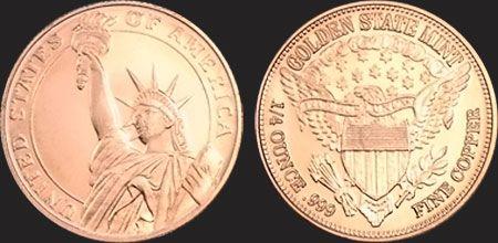 Statue of Liberty United States of America  1//4 oz Copper Round coin