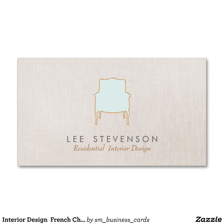 Interior Design French Chair Logo Business Card   Business cards ...