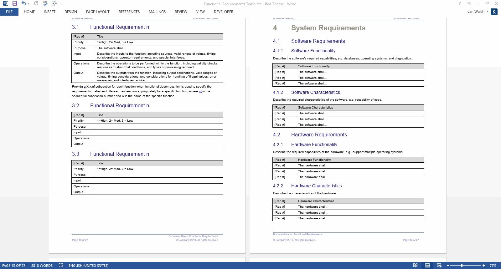 Software Requirements Document Template Incredible Functional