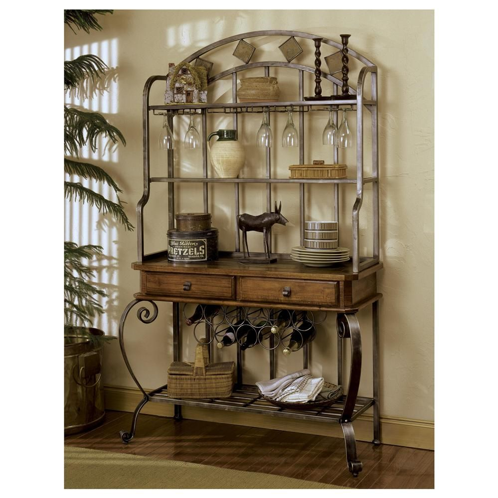 Bakers Rack With Images Bakers Rack Decorating Farmhouse Chic