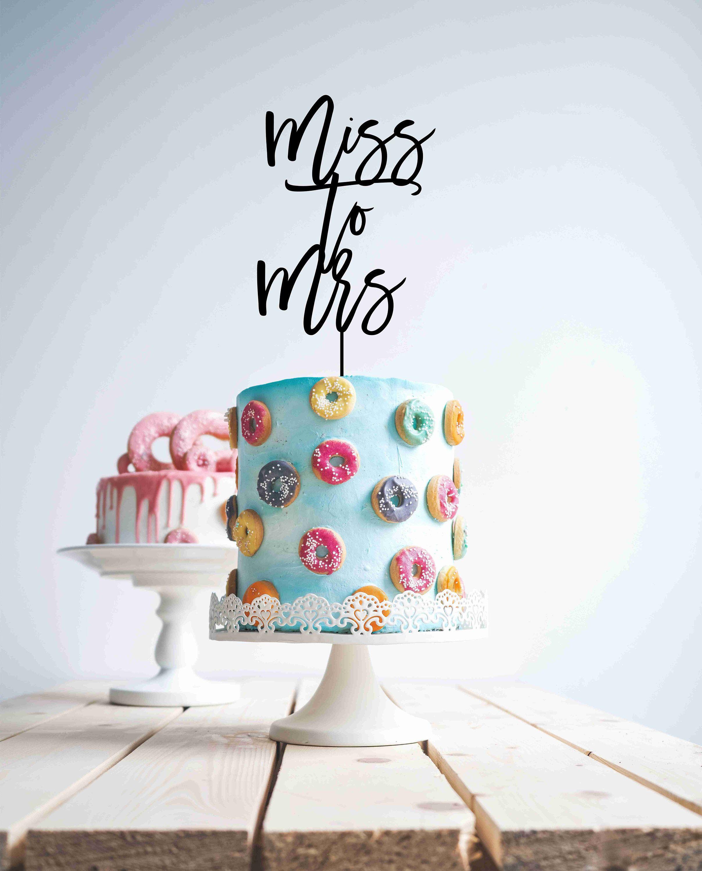 Miss To Mrs Custom Bridal Shower Cake Topper  Rustic