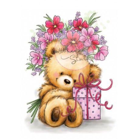 Tampon dessin ours fleur cadeau anniversaire f te - Dessin cadeau anniversaire ...