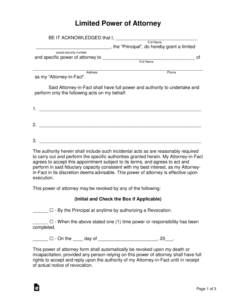 special power of attorney form in word  Free Limited (Special) Power of Attorney Forms - PDF | Word ...