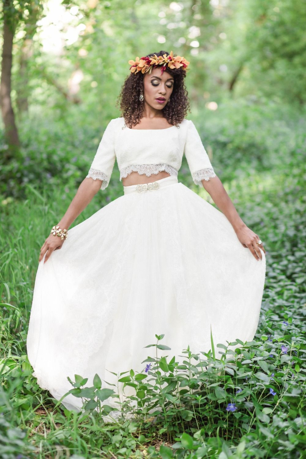Eclectic Boho Wedding Ideas Two piece wedding dress