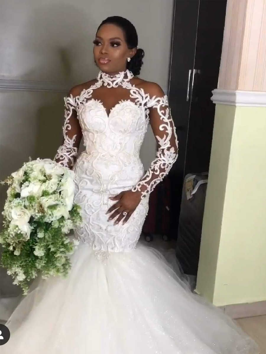 2021 Latest African Mermaid Wedding Dresses Elegant Halter Long Sleeves Lace Appliques Beads Bridal Gowns Vestido De Noiva Wedding Dresses Aliexpress Lace Gown Styles Mermaid Wedding Dress Sheer Wedding Dress [ 1200 x 900 Pixel ]