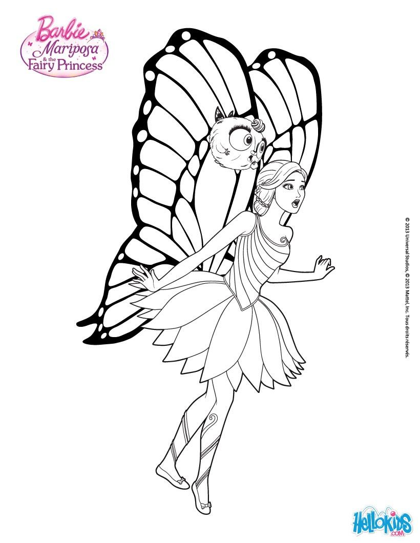 Mariposa And Zee Fly Closer Coloring Page More Barbie Sheets On Hellokids