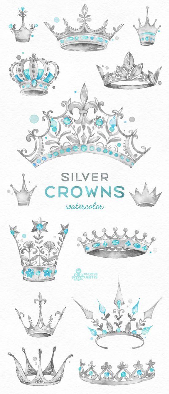 Silberne Kronen. 14 Aquarell handbemalt Clipart. Königliche, Diadem, Tiara, König, Prinzessin, grau, Logo, Einladung, digitale Png, Stil, Aufkleber #crowntiara