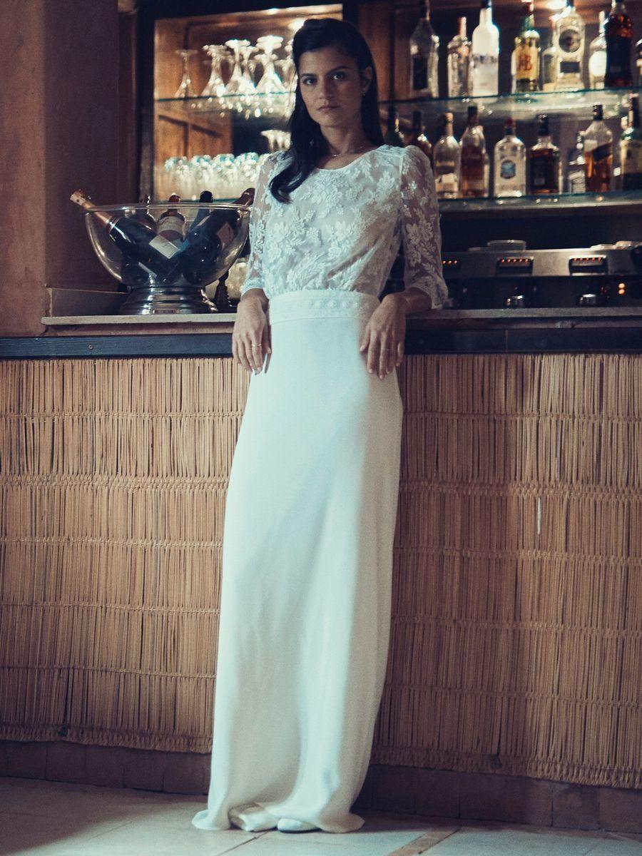 5c08987ddcc Laure de Sagazan Fall 2019 Bridal Collection  Sheath Wedding Dress with  Lace Long Sleeve Bodice