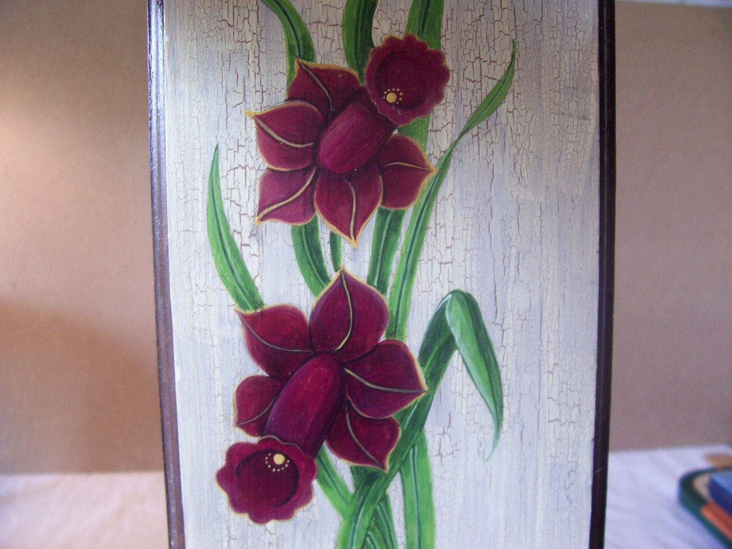 Wood Plaque With Door Knob Hanger Decorative Daffodil Tole Hand