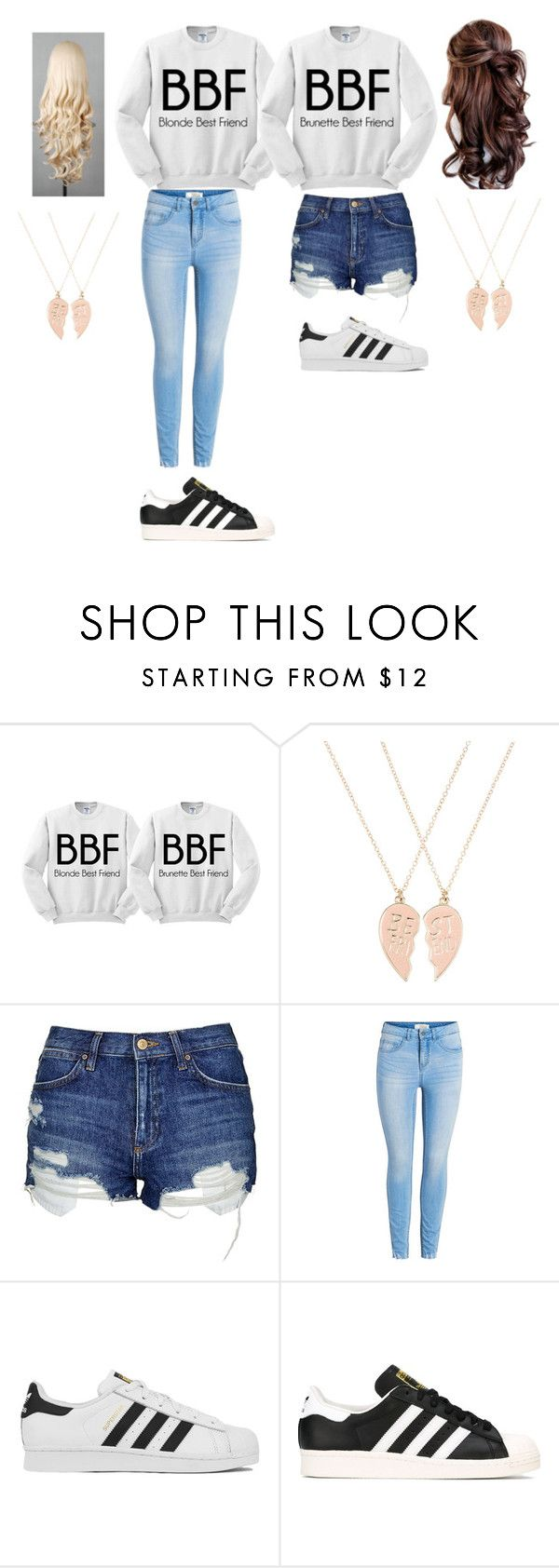 """""""Bff"""" by galaxy-taco on Polyvore featuring Accessorize, Topshop and adidas"""