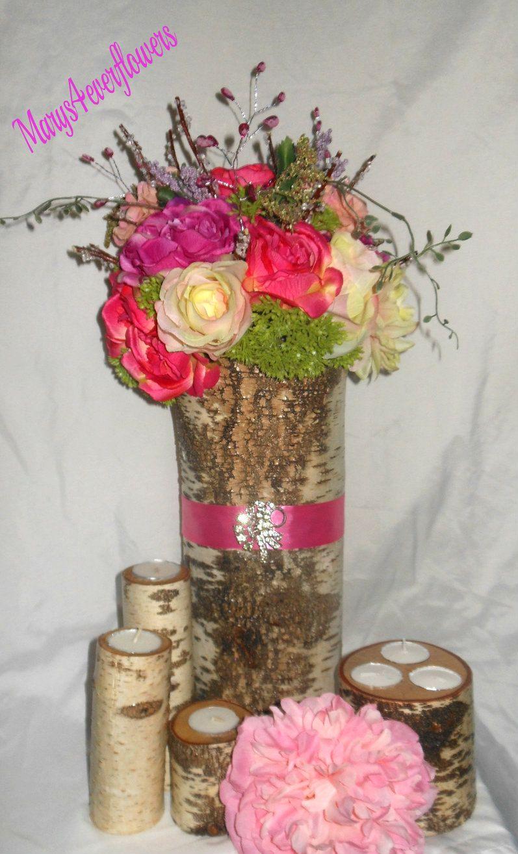 Birch Log Wedding Centerpiece with Birch by marys4everflowers, $85.00