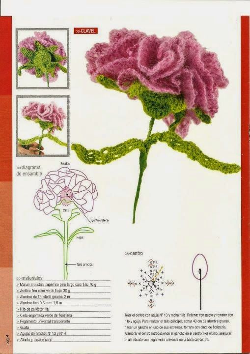 Carnation Crochet Flower Pattern With Images Crochet Flowers