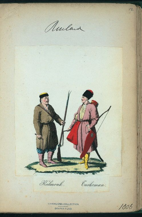 Kalmouk and Turkoman (NYPL > The Vinkhuijzen collection of military uniforms > Russia. > Russia, 1806 [part 1])