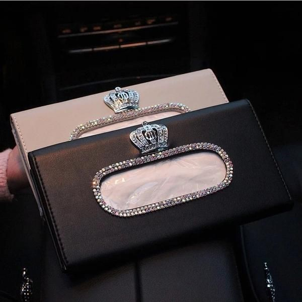 aoory Car Tissue Box Bling Bling Sun Visor With Crystal Diamond Leather Car Napkin Hanging Bag Holderfor Black