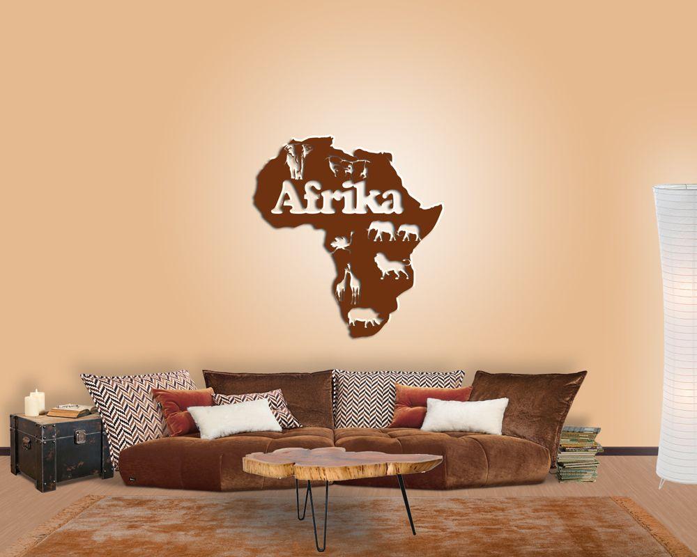 wanddeko afrika karte für ihre wand im wohnzimmer  haus deko