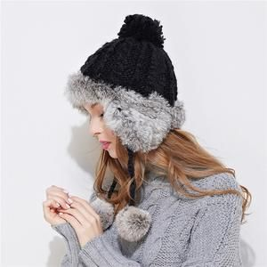 339b6a5f0a2 Xthree ear flaps winter bomber hat for women rabbit fur knitting hat girl  warm solid color