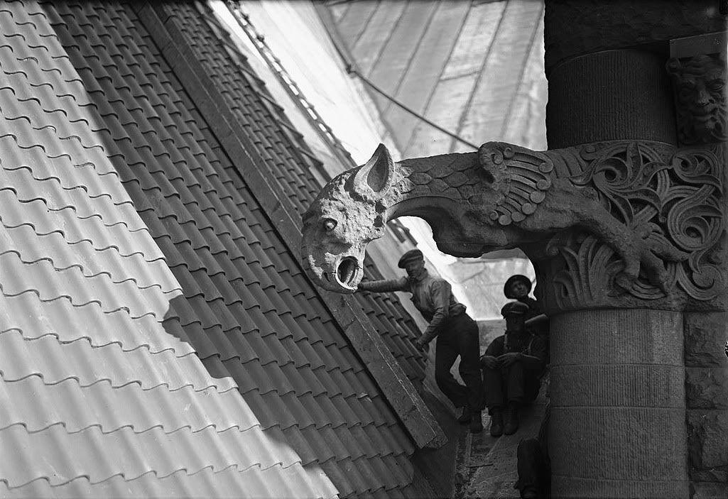 Gargoyle On The Clock Tower Of Toronto S City Hall August