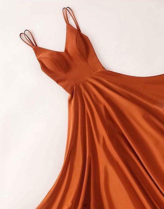 Simple v neck satin long prom dress, long evening dress