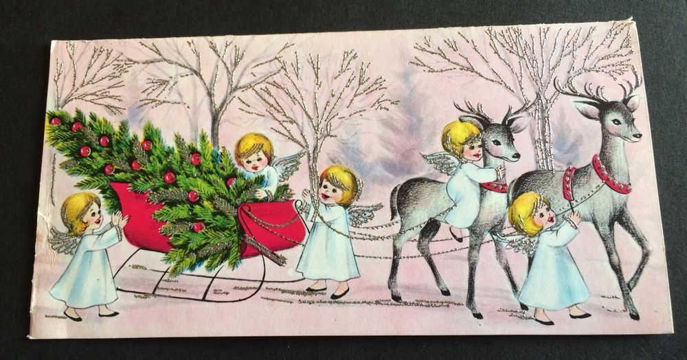 Silvered Trees Deer Pulled Sleigh Tiny Angels ~ Vintage Christmas Greeting Card in Collectables, Paper & Ephemera, Greeting Cards   eBay