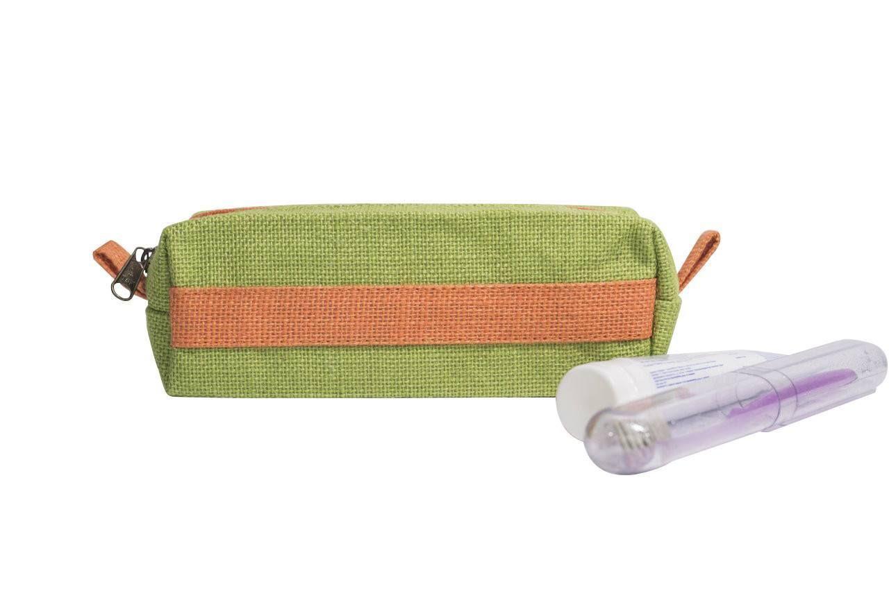 KK Jute Bag Eco-Friendly Jute Makeup Pouch Pencil Case Green/Orange ladies clothing