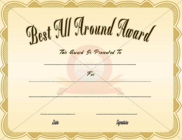 Best All Around Certificate AWARD CERTIFICATE TEMPLATES - best of recognition award certificate wording