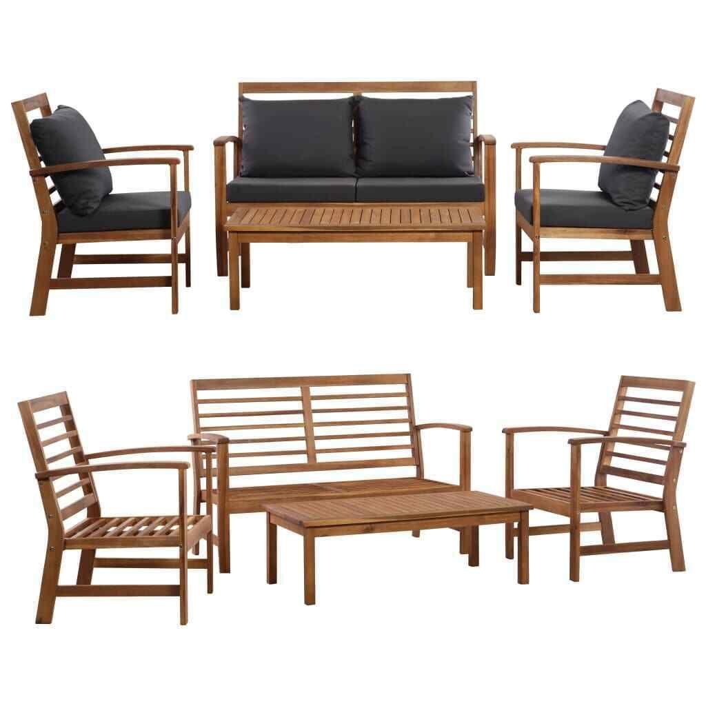 Vidaxl Solid Wooden Garden Sofa Set 4 12 Pieces Outdoor Patio Furniture Lounge Sofa Set Ideas Of Sofa Set Sof Garden Sofa Set Sofa Set Living Room Leather