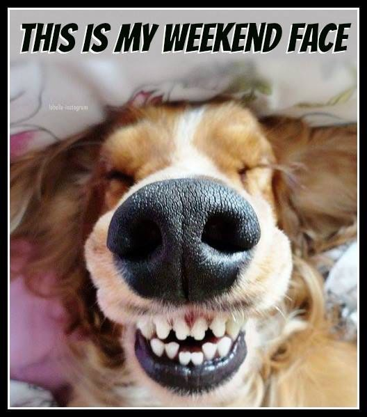 Funny Happy Saturday Quotes: This Is My Weekend Face...Haha! M! Thank You! I'm Smiling
