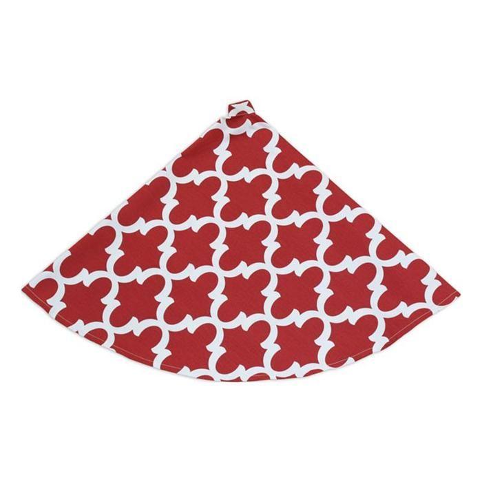 """51"""" Round, Hemmed Tree Skirt in Red and Cream   Nebraska Furniture Mart"""