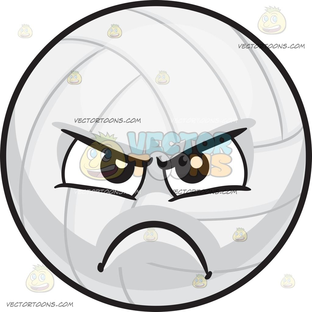 An Angry Volleyball Black Brows Emoji Clipart Volleyball