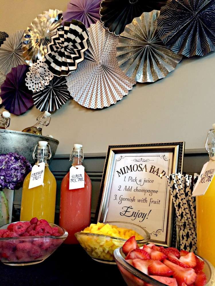 Mimosa bar at a Tim Burton bridal shower party! See more party planning ideas at CatchMyParty.com! #photoblackwhite