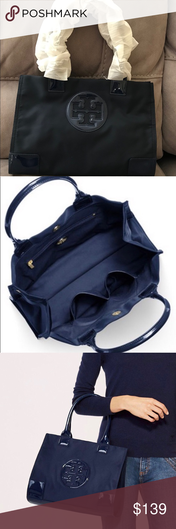 4c6d0bf1a25f Tory Burch Ella Nylon Mini Tote - French Navy Nylon and PVC. Magnetic snap  closure. 2 gusset snaps. 3 interior pockets. Tubular leather handle with  6.5