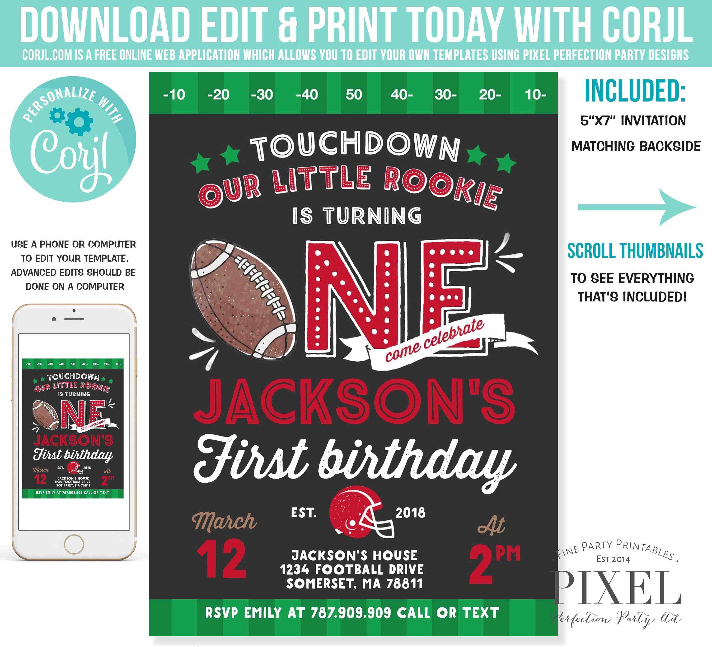 Football Birthday Invitation Football Invitation Boy 1st Birthday Little Rookie Football Birthday Party Instant Editable File Corjl T7 #babyboy1stbirthdayparty