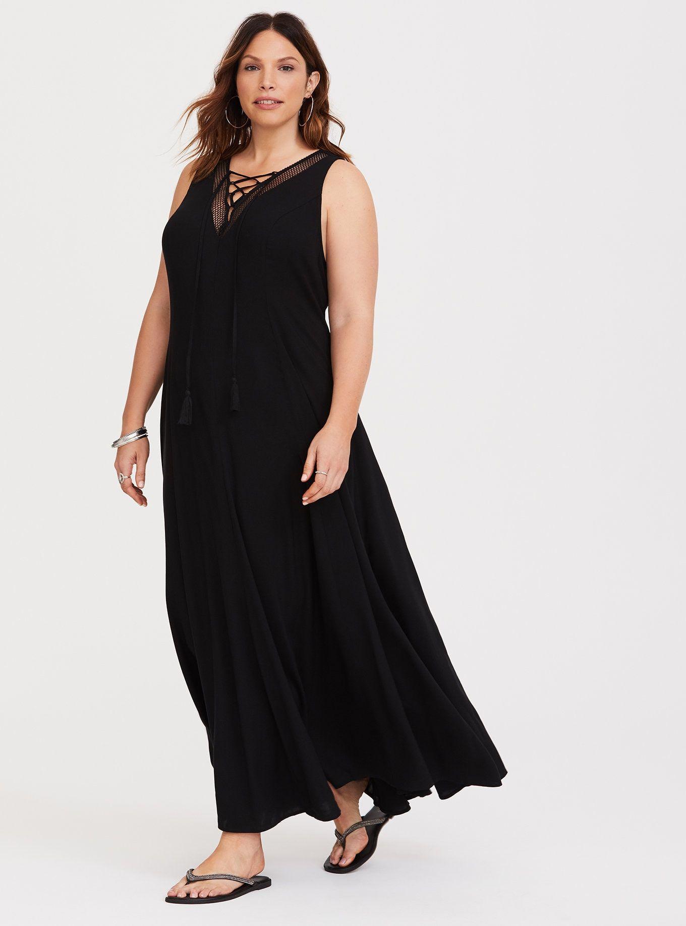 4bba6a9fd37 Black Lace-Up Challis Trapeze Maxi Dress
