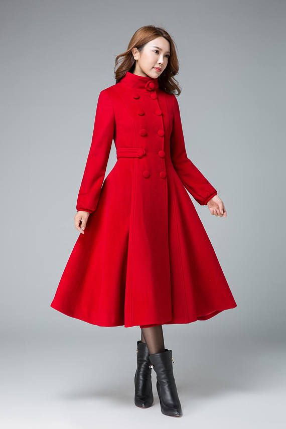 2c152eb2b42 This long sleeve Red coat is design for your winter