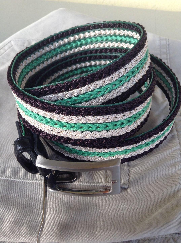 Cintura unisex, ricamata a righe con fibbia di metallo : Cinture di la-libe