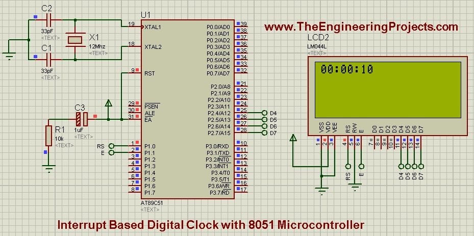 interrupt based digital clock with 8051 microcontroller the