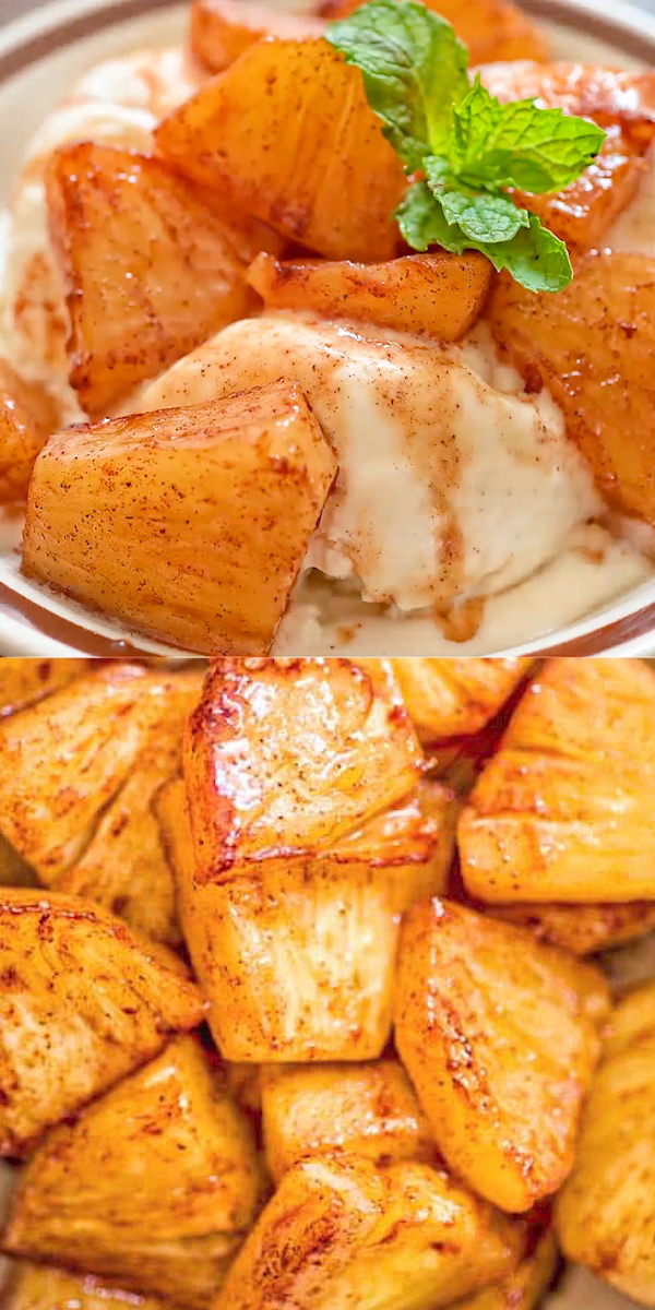 Try this simple, yet scrumptious, Cinnamon Fried Pineapple. It requires just a few common ingredients and only 10 minutes of your time.  FOLLOW Cooktoria for more deliciousness! #pineapple #dessert #fruits #cinnamon #sweet #yummy #fallappetizers