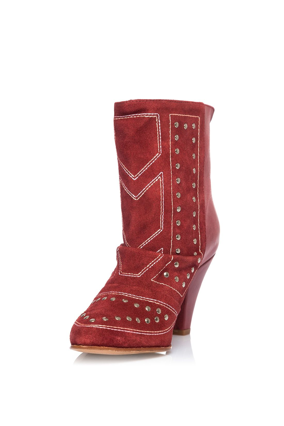 Womens Office Allure Pointed Block Heel Boots Burgundy Croc Boots