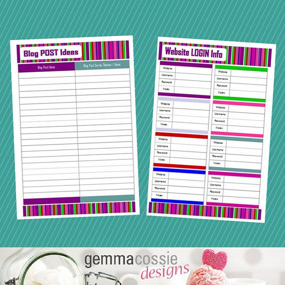 Blog Planner Kit 11 Printable PDF Blog by GemmaCossieDesigns