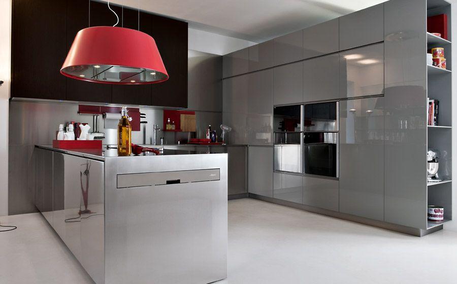 Cucina angolare classica con anta telaio frassino laccato decapè ...
