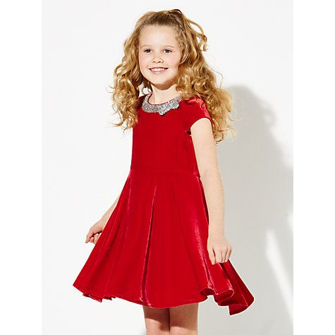 d9c7ebb36 Buy John Lewis Girls' Velvet Dress With Bow, Red Online at johnlewis.com