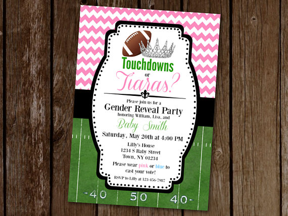 Touchdowns Or Tiaras Gender Reveal Invitation Football