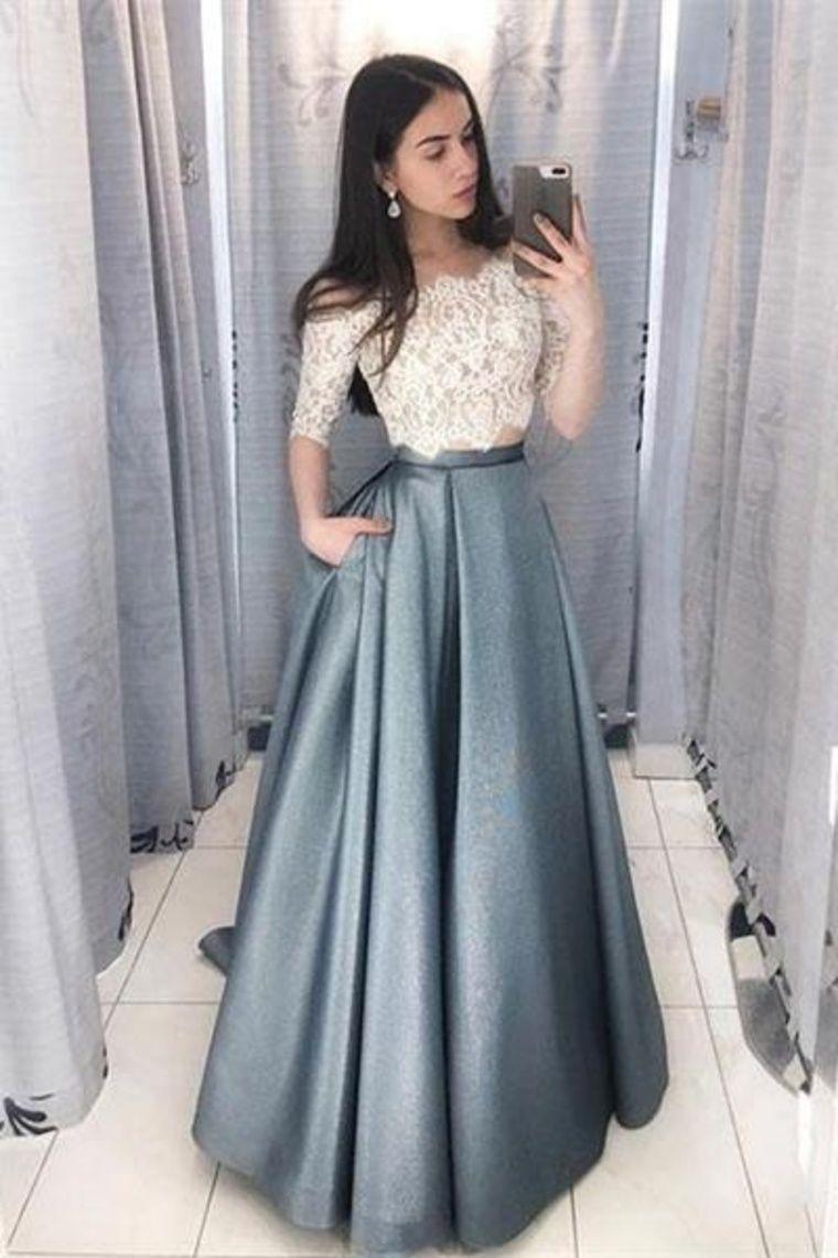 2 Pieces Long Lace Satin A Line Elegant Prom Dresses For Teens Us 157 00 Bukpskyqfhg 157 00 2 A Line Bukpskyqfhg Dresses Ele [ 1140 x 760 Pixel ]