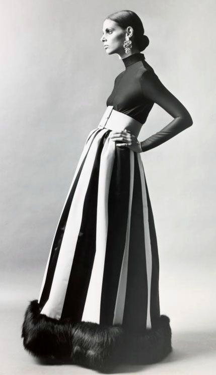 i don't understand. she's posed like Ed Grimly.  Evening gown, 1972  #vintage fashion