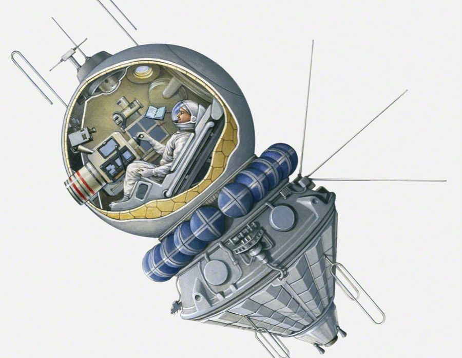 Illustration of Yuri Gagarin in Vostok spacecraft UdSSR